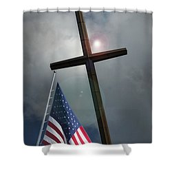 Christian Cross And Us Flag Shower Curtain