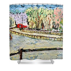 Christmas At Cissy's Farm Shower Curtain by Michael Daniels