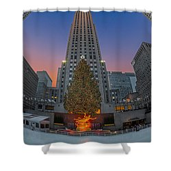 Christmas At Rockefeller Center In Nyc Shower Curtain by Susan Candelario