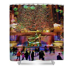 Shower Curtain featuring the photograph Christmas At The Rock by Chris Lord