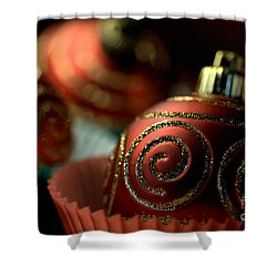 Christmas Bauble Cupcakes Shower Curtain by Joy Watson