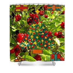 Christmas Berries Shower Curtain by Patrick J Murphy
