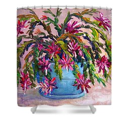 Christmas Cactus Shower Curtain by Lou Ann Bagnall