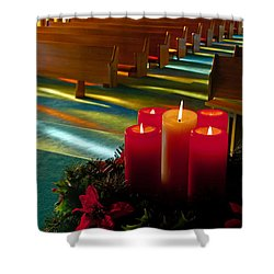Christmas Candles At Church Art Prints Shower Curtain by Valerie Garner