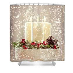 Christmas Candles Shower Curtain by Amanda Elwell