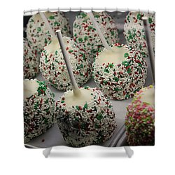 Shower Curtain featuring the photograph Christmas Candy Apples by Bill Owen