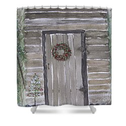 Christmas Card No.3 Rustic Cabin Shower Curtain