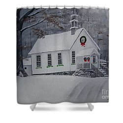 Christmas Card - Snow - Gates Chapel Shower Curtain