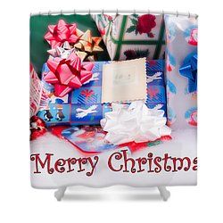 Shower Curtain featuring the photograph Christmas Presents On Artificial Snow by Vizual Studio