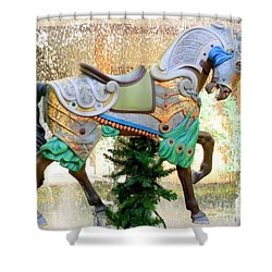 Christmas Carousel Warrior Horse-1 Shower Curtain by Mary Deal