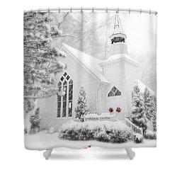 Historic Church Oella Maryland - Christmas Card Shower Curtain by Vizual Studio