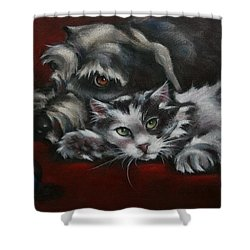 Shower Curtain featuring the painting Christmas Companions by Cynthia House