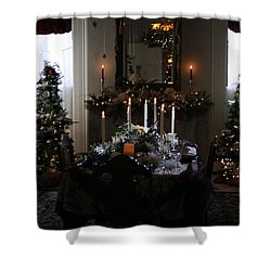 Christmas Dinner At The Mansion Shower Curtain by Kay Novy
