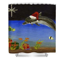Christmas Dolphin And Friends Shower Curtain by Jamie Frier
