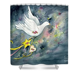 Christmas Dove In Flight Shower Curtain
