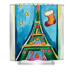 Christmas Eiffel Tower Painting Shower Curtain