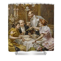 Christmas Eve Dinner In The Private Dining Room Of A Great Restaurant Shower Curtain by Ludovico Marchetti