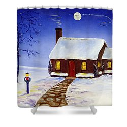 Shower Curtain featuring the painting Christmas Eve by Lee Piper