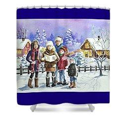 Christmas Family Caroling Shower Curtain