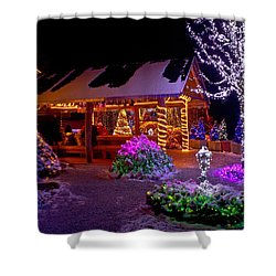 Christmas Fantasy Lodge And Tree Lights Shower Curtain
