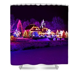 Christmas Fantasy Park Forest Lodge In Xmas Lights Shower Curtain