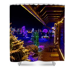 Christmas Fantasy Trees And Wooden House In Lights Shower Curtain