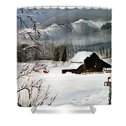 Christmas Farm House Shower Curtain