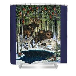 Christmas Gathering Shower Curtain