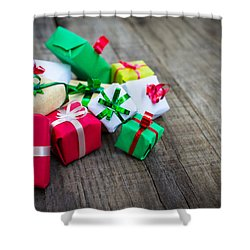 Christmas Gifts Shower Curtain by Aged Pixel