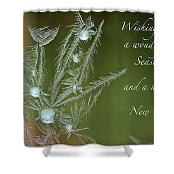 Shower Curtain featuring the mixed media Christmas Greeting Card Ice Flowers by Peter v Quenter