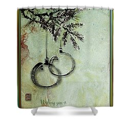 Shower Curtain featuring the painting Christmas Greeting Card With Ink Brush Drawing by Peter v Quenter