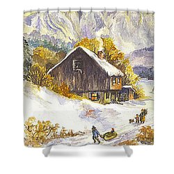 Shower Curtain featuring the painting A Winter Wonderland Part 1 by Carol Wisniewski