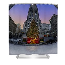 Christmas In Nyc Shower Curtain by Susan Candelario