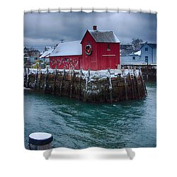 Christmas In Rockport Massachusetts Shower Curtain by Jeff Folger