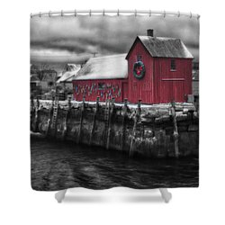 Christmas In Rockport New England Shower Curtain