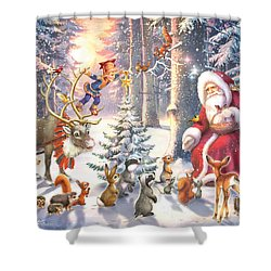 Christmas In The Forest Shower Curtain by Zorina Baldescu