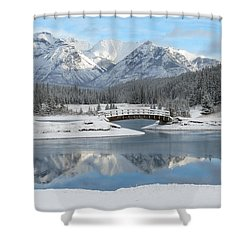 Christmas In The Rockies Shower Curtain