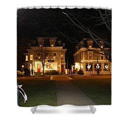 Christmas In Town Shower Curtain by Catie Canetti
