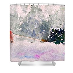 Christmas Is Coming Shower Curtain by Yoshiko Mishina