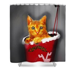 Christmas Kitten Shower Curtain by Ken Morris