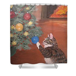 Christmas Kitty Cat Shower Curtain