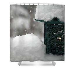 Shower Curtain featuring the photograph Christmas Lantern by Katie Wing Vigil