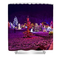 Christmas Lights In Town Park - Fantasy Colors Shower Curtain