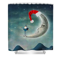 Christmas Moon Shower Curtain