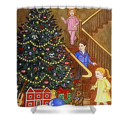 Christmas Morning Shower Curtain by Linda Mears
