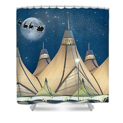 Christmas Night At Denver International Airport Shower Curtain
