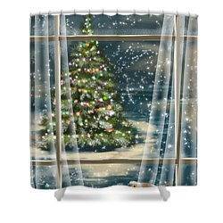 Christmas Night Shower Curtain by Veronica Minozzi