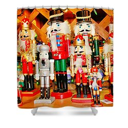 Shower Curtain featuring the photograph Christmas Nutcrackers by Judy Palkimas