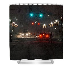 Christmas On The Streets Of Grants Pass Shower Curtain by Mick Anderson