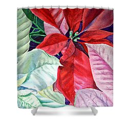 Christmas Poinsettia Shower Curtain by Irina Sztukowski